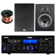Pyle PDA6BU Amplifier Stereo Receiver Bluetooth AM/FM Radio USB AUX input 200 Watt Bundle Combo With Dual Electronics LS205EB Black Wood Bookshelf Indoor/Outdoor Speaker + Enrock 50ft 16g Speaker Wire