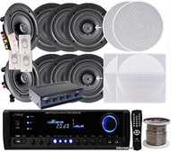"Pyle KTHSP690 4 Pairs of 200W 6.5"" In-Wall / In-Ceiling Stereo White Speakers w/ 300W Digital Home Stereo Receiver w/ USB/SD/AUX Input, Remote w/ 4 Channel High Power Stereo Speaker Selector, 4 Volume Controls & 250 ft. Wire"