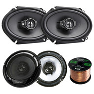 "2 Pair Car Speaker Package Of 2x Kenwood KFC-C6895PS 720-Watt 6x8"" Inch 3-Way Black Coaxial Speakers + 2x KFC-1665S 6 1/2"" Inch 2-Way Audio Speaker + Enrock 16g 50 Ft Speaker Wire"