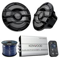 "Marine Speaker And Amp Combo Of 4x Kenwood KFC2053MRB 8"" 2-Way 300w Car Marine Boat Yacht Outdoor Black Speaker Bundle With 400-Watt 4-Ch. Waterproof Bluetooth Amplifier + Enrock 50Ft 16g Speaker Wire"