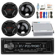 """Kenwood KDCBT21 Car CD Player Receiver Bluetooth USB AUX Radio - Bundle Combo With 4x JVC CSDR620 6.5"""" Inch 300-Watt 2-Way Black Audio Coaxial Speakers + + 4-Channel Amplifier + Amp Kit"""