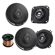 "2 Pair Car Speaker Package Of 2x Kenwood KFC-1095PS 4"" 3-Way Black Performance Series Black Flush Mount Car Coaxial Speakers + 2x KFC-1395PS 5 1/4 320-Watt Audio Speaker + Enrock 16g 50Ft Speaker Wire"