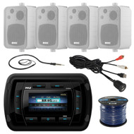 Pyle PATVR14 MP3/MP5 Bluetooth Marine Boat Yacht Stereo Receiver Bundle Combo With 4x Enrock White 4'' 200-Watt Waterproof Stereo Box Speaker + Radio Antenna + USB/AUX To RCA Cable + 18G 50-FT Wire