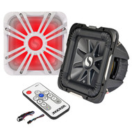 "Kicker 11S10L74 Solo-Baric L7 10-Inch Square Subwoofer, Kicker L710GLW 10"" Square Subwoofer LED Grill, Kicker 41KMLC Marine LED Light Remote Controller"