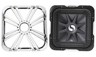 "Package: Kicker 11S12L7-4 12"" 1500 Watt Solo Baric L7 Subwoofer w/ Non Resonant Aluminum Basket + Kicker 11L712GLC 12"" Charcoal Grille With LED Lighting For SoloBaric 11S12L7 Subwoofer"