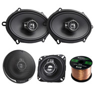 "2 Pair Car Speaker Package Of 2x Kenwood KFC-1095PS 4"" 3-Way Black Performance Series Black Flush Mount Car Coaxial Speakers + 2x KFC-C5795PS 5x7"" Inch 360-Watt Audio Speaker + Enrock 16g 50Ft Wire"