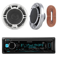"""Kenwood KMMBT322U Single DIN Bluetooth In-Dash Car stereo Receiver Bundle Combo With Set Of 2 Jensen JS652 50W 6.5"""" Inch 2-Way Coaxial Car Audio Speakers And Enrock 50 Feet 16g Speaker Wire"""
