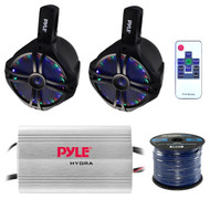 """Marine Speaker And Amp Combo: Pyle PLMRMP3A 4 Channel 1200 Watt Waterproof MP3 Power Amplifier Bundle With 2X 6.5"""" 200W Wakeboard Waterproof LED Light Tower Speakers + Enrock 50Ft 16g Speaker Wire"""