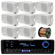 Pyle PT390BTU Bluetooth Digital Home Theater 300-Watt Stereo Receiver, Pair PLMR24 Pyle 3.5'' 200 Watt 3-Way Weather Proof White Mini Box Speaker System, Enrock Audio 16-Gauge Speaker Wire - 100 Feet