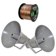 Pyle PHSP131T 13.5'' Indoor / Outdoor 50 Watt PA Horn Speaker w/ 70V Transformer, Enrock Audio 16-Gauge 50 Foot Speaker Wire