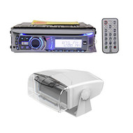 Package: Dual AMB600W Marine Boat Radio CD Player Receiver and Remote + Dual MH200 Universal Single DIN Marine Radio Receiver Waterproof Fully Enclosed Gimbal Housing