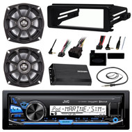 "JVC KDX35MBS Bluetooth Stereo Receiver Bundle Combo With Dash Kit + 2x 5.25"" Speakers + 200 Watt Amplifier + Handle Bar Control + Enrock Wire Antenna For 98-13 Harley Motorcycle Bikes Audio Upgrade"