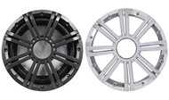 "Package: Kicker 41KMW104LC 10"" 300 Watt Peak / 150 Watt RMS 4-Ohm Marine Subwoofer + Kicker 41KMW10GCR KM Series 10"" Marine Subwoofer Grille in Chrome"