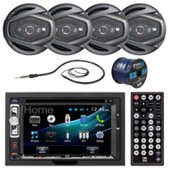 """Dual DV526BT 6.2"""" Double-DIN CD DVD Bluetooth Car Stereo Receiver - Bundle Combo With 4x 6.5"""" Inch 4-Way Black Coaxial Speakers + Enrock 50Ft 16g Speaker Wire + Radio Antenna"""
