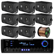 Pyle PT390BTU Bluetooth Digital Home Theater 300-Watt Stereo Receiver, Pyle PLMR24B 3.5'' 200 Watt 3-Way Weather Proof Black Mini Box Speaker System, Enrock Audio 16-Gauge Speaker Wire - 100 Feet