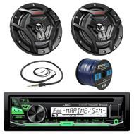 "JVC KD-R97MBS Marine Boat Yacht Radio Stereo CD Player Receiver Bundle Combo With 2x JVC CS-DR6200M 100-Watt 6.5"" 2-Way Coaxial Speakers + Enrock Radio Antenna + 50 Foot 16g Speaker Wire …"