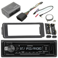 Kenwood KDCBT21 Bluetooth Radio USB AUX CD Player Receiver Bundle Combo With Scosche Adapter Dash Install Kit for Radio + Handle Bar Control Module - Fits 1998 2013 Harley Touring Motorcycle Bikes