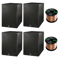 Home Theatre Speaker Package Of 4x Dual Electronics LS205EB Black Wood Grain Bookshelf Indoor/Outdoor Box Speakers + Enrock 50 Feet 16-Guage Speaker Wire
