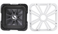 """Package: Kicker 11S12L7-4 12"""" 1500 Watt Solo Baric L7 Subwoofer w/ Non Resonant Aluminum Basket + Kicker 11L712GLW 12"""" White Grille With LED Lighting For SoloBaric 11S12L7 Subwoofer"""
