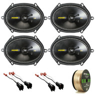 "Package Bundle Includes = Kicker 40CSS684 6""x8"" 550-Watt Car Black Component Speaker System, Metra 72-5600 Speaker Adapter for Select Ford Vehicles, Enrock 14 AWG Gauge 50 Feet Speaker Wire"