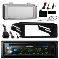 JPioneer DEH-X6900BT Bluetooth Radio USB AUX CD Player Receiver W/ Cover - Bundle With Install Dash Kit + Handle Bar Control + Enrock Antenna for 98 2013 Harley Touring Flht Flhx Flhtc Motorcycle Bike
