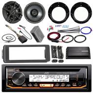 """JVC KDR99MBS Stereo CD Receiver Bundle + 2 Kicker 6.5"""" Speaker + Motorcycle Speaker Adapters + 200 Watt Amplifier + Amp Wiring Kit + Dash Trim Kit + 98-13 Harley Handle Bar Conroller + Enrock Antenna"""