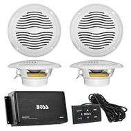 "Marine Speaker And Amp Combo Of Boss Audio MC900B 4-Channel Bluetooth Micro Class AB Boat Amplifier With Remote Bundle With 4x Magnadyne AquaVibe WR65WS 6.5"" Inch Waterproof Cream/White Stereo Speaker"