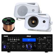 Pyle PDA6BU Amplifier Receiver Stereo Bundle With 2 Pyle PLMR26 5'' 500 Watt 3-Way Weather Proof Speakers - Enrock 50ft 16g Speaker Wire
