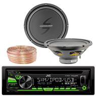 JVC KDR680S Car CD Player Receiver USB AUX Radio - Bundle Combo With 2x 12-Inch Dual 4-Ohm Single Voice Coil Subwoofer + Enrock 50 Foot 18 Gauge Wire