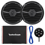 "Marine Speaker And Amp Combo Of 2x Rockford Fosgate RM0652 6.5"" Marine Audio Black Speakers Bundle With a 300-Watt 2-Channel Boosted Rail Amplifier W/ Bluetooth preamp controller + 50Ft 16g Speaker Wire"