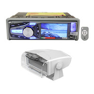 Package: Dual AM615BT Marine/Boat CD Radio Receiver With Bluetooth Audio, iPhone, and Pandora Control + Dual MH200 Universal Single DIN Marine Radio Receiver Waterproof Fully Enclosed Gimbal Housing