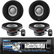 "JVC KD-R85MBS Marine Motorcycle Sports CD Receiver with Bluetooth USB AUX SiriusXM iPod Stereo Receiver Player With 4 X Infinity 5.25"" 165 Watts 2 Way Car Marine Audio Speakers"