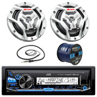 "JVC KDX35MBS Marine Boat Yacht Radio Stereo Receiver Bundle Combo With 2x JVC CS-DR6201MW 300-Watt 6.5"" 2-Way Coaxial Speakers + Enrock Radio Antenna + 50 Foot 16g Speaker Wire"