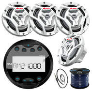 "Pyle PLMR91UB Gauge Style Marine Boat Yacht Radio Stereo Receiver Bundle Combo With 4x JVC CS-DR6201MW 300-Watt 6.5"" 2-Way Coaxial Speakers + Enrock Radio Antenna + 50 Foot 16g Speaker Wire …"