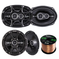 "Kicker 41DSC693 D-Series 6x9"" inch Coaxial 3-Way Speaker with 1/2"" Tweeter, Kicker 41DSC54 5.25"" 2-Way Speaker, Enrock Audio 16-Gauge 50 Foot Speaker Wire"