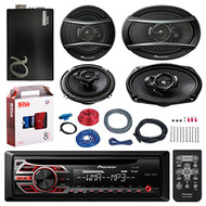 "PIONEER DEH-150MP CD/MP3/AUX Car Receiver Player Bundle - 2x Pioneer TSA1676R 6.5"" 3-Way Car Audio Speakers - 2x 6.5""-6.75"" 4-Way Stereo Speaker + Alphasonic 2400w Amplifier + Boss Amp Install Kit"