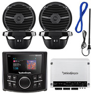 "Rockford Fosgate PMX-2 MP3 Bluetooth Marine Boat Digital Media Receiver Bundle Combo With 4x RM0652B 6.5"" Inch Audio Black Speakers + 400 Watt Amplifier + Enrock Radio Antenna + 50Ft Wire"