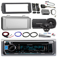 "Harley Audio Package Of Kenwood KMR-D368BT Bluetooth CD MP3 Stereo Receiver Bundle Combo With Dash Trim Kit + Radio Cover + 2x 5.25"" Speaker + 2 Channel Amplifier W/ Install Kit + HandleBar Conroller"