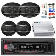 "Kenwood KDC118 Car Radio USB AUX CD Player Receiver - Bundle With 2x TSA1676R 6.5"" 3-Way Car Audio Speakers - 2x 6.5""-6.75"" 4-Way Stereo Speaker + 4-Channel Bluetooth Amplifier + Amp Kit"