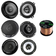 "3 Pairs Car Speaker Package Of 2x Kenwood KFC-1365S 5-1/4"" 250-Watt Coaxial Speakers + 2x KFC-1665S 6 1/2"" 2-Way Black Car Speakers + 2x KFC-1695PS 6.5"" 3-Way Speaker + Enrock 18g 50 Ft Speaker Wire"