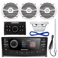 """Rockford Fosgate PMX-5 Punch Marine Oversized 2.7"""" DIN AM/FM Bluetooth Stereo Receiver Bundle Combo With PMX-0R Wired Remote Control + 4x RM0652 6.5"""" Inch White Audio Speakers + Enrock Radio Antenna + 50Ft Wire"""