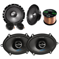 "Car Speaker Package Of Alpine SPS-610 6.5"" 2-Way Car Audio Speakers Bundle With Alpine SPS-517 5x7"" Inch 4-Ohms Coaxial Car Stereo Speaker + Enrock 16g 50 Feet Speaker Wire"