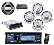 Sony DSXMS60 Marine Stereo Package With Speaker Combo - 4 Kenwood KFC-1633MRW Speakers - Sony RMX60M/L Wired Remote Control - Pyle PLBT27 Universal Bluetooth Receiver Adapter