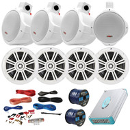 "Speaker Package Of 4 Kicker 41KM604W White 6.5"" Boat Coaxial Speaker + 4 White Pyle PLMRW85 8"" Marine Wake board Speakers + Lanzar 4800w Amplifier With Installation Kit + Enrock 100ft Speaker Wire"