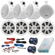 """Speaker Package Of 4 Kicker 41KM604W White 6.5"""" Boat Coaxial Speaker + 4 White Pyle PLMRW85 8"""" Marine Wake board Speakers + Lanzar 4800w Amplifier With Installation Kit + Enrock 100ft Speaker Wire"""