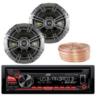 "JVC KDR480 Car Radio USB AUX CD Player Receiver - Bundle Combo With 4x Kicker 40CS654 6.5"" Inch 300-Watt Car Audio 2-Way Coaxial Speakers + Enrock 50 Foot 18 Gauge Wire"