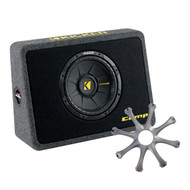 """Kicker TCWS10 2 Ohm CompS Loaded Subwoofer Enclosure, GR100 Grill for Kicker 10"""" Round Subwoofers"""