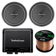 "Car Sub & Amp Package Of 1 Pair of Lightning Audio By Rockford Fosgate L0S412 12"" Car Audio Single Voice Coil Subwoofer Bundle Combo With 500W Class-D Monoblock Amplifier + Enrock 50 Foot 16G Wire"