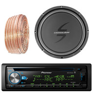 Pioneer DEH-X6900BT Car CD Player Receiver Bluetooth USB AUX Radio - Bundle Combo With 12-Inch Dual 4-Ohm Single Voice Coil Subwoofer + Enrock 50 Foot 18 Gauge Wire