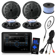 Pyle PLRVST300 RV Wall Mount Bluetooth CD/DVD Receiver Bundle Combo With 4x Black 5-1/4'' Dual Cone Waterproof Stereo Speaker + Enrock Radio Antenna + USB/AUX To RCA Cable +18G 50-FT Wire